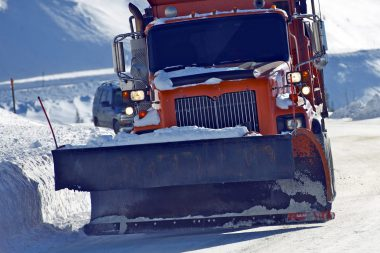 Snowplow Clearing Loveland Pass Road, Colorado United States.